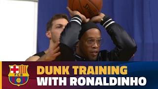 Ronaldinho lends a hand to Kilganon in slam dunk practice