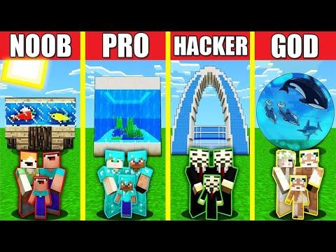 Minecraft Battle: AQUARIUM HOUSE BUILD CHALLENGE - NOOB vs PRO vs HACKER vs GOD Animation OCEANARIUM