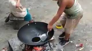 Little Kid Cooking Egg Fried Rice