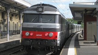 preview picture of video 'France: SNCF Class BB 67400 diesel locos at Riom Châtel-Guyon (Auvergne) on TER passenger services'