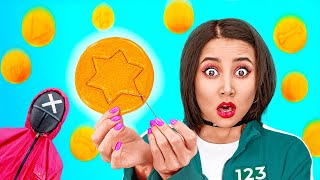 TRYING THE SQUID GAME || Honeycomb Candy Challenge! How to Get Popular in Jail by 123 GO!