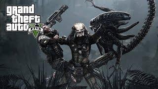 មនុស្សឬសត្វចំលែក? GTA 5 : The Predator Vs Alien Mod | GTA V Predator Mods Gameplay