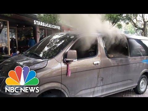 Blazing Minivan Plows Into Pedestrians Near Starbucks In Shanghai   NBC News