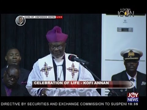 Sermon By Most Rev. Dr. J. O. Akrofi: Celebration Of Life - Kofi Annan on JoyNews (13-9-18)