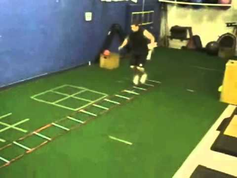 Two Foot Slalom Jumps Over Ladder - Footwork plyo