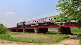 Rangpur Express Train passing through a beautiful Rail Bridge near Ishwardi Bypass Railway Station
