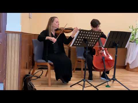 Violin and cello duet music before wedding