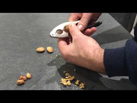 Utilisation du casse-noix Cubo de Berghoff par un homme