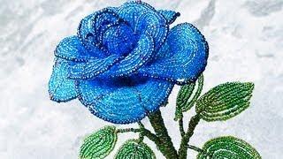 PART 1 tutorial: blue rose out of beads (Как cделать синюю розу из бисера)