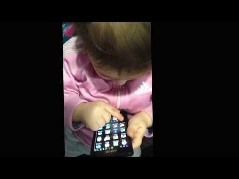Baby using smartphone