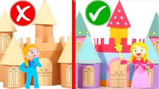 CARDBOARD CASTLE VS MAGIC CASTLE ❤ PLAY DOH CARTOONS FOR KIDS