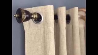 Solution for hanging curtains over vertical blinds www.nonobracket.com