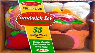 Sandwich Set Melissa & Doug Felt Food Toy Review - Toy Videos
