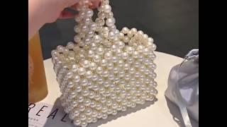 Vintage Pearls Beaded Totes Bag