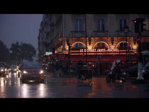 Rainy street in Paris.