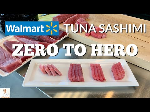 Eating Raw Tuna, Even From Walmart | How To Cut Fresh Tuna For Sashimi