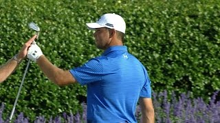 Gary Woodland attacks the island green at THE PLAYERS by PGA TOUR