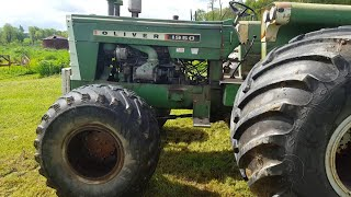 Oliver 1950 FWA with screamin' Detroit Diesel plowing with 9