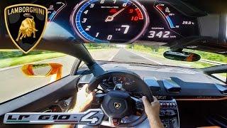 POV 342 km/h LAMBORGHINI HURACAN AKRAPOVIC INSANE! AUTOBAHN ACCELERATION TOP SPEED DRIVE & SOUND