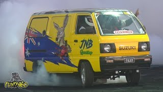 "CRAZY LS3 SUZUKI BURNOUT VAN ""FALKY"" BRINGS THE PARTY TO RED CENTRE NATS"