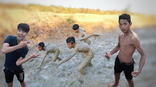 Funny Mud Boys While Playing In The Mud Challenge!