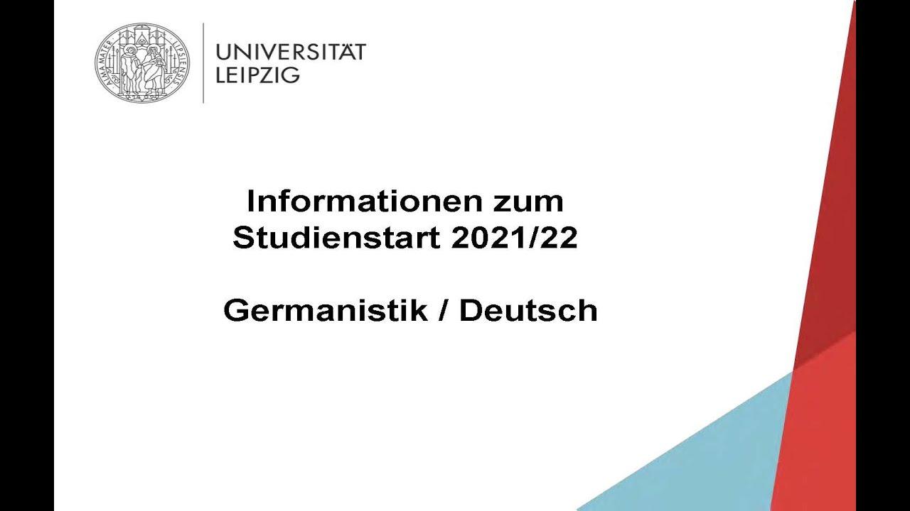Informationen zum Studienstart am Institut für Germanistik der Universität Leipzig 2021/22