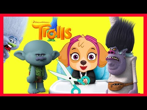 Paw Patrol Skye Gives Trolls Poppy a Haircut with Villain Chef in Marshall's Firetruck