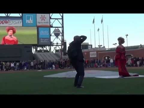 Vanessa Bousay sings The Star Spangled Banner for San Francisco Opera's annual Opera Night At The Ballpark, 2014