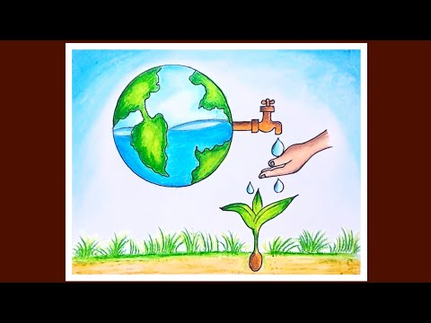 How To Draw Save Water Save Earth Poster | World Environment Day Special Drawing for Beginners