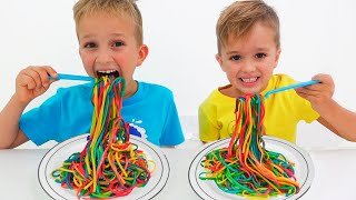 Vlad and Mom want the same colored noodles