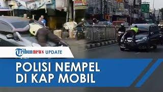 Aksi Polisi Nemplok di Kap Mobil Terulang Lagi, Pengemudi Buka Pintu dan Jepit Tangan sang Polisi
