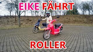 EIKE FÄHRT DAS ERSTE MAL ROLLER :D  | HELLO KITTY ROLLER |  #Harz Rider
