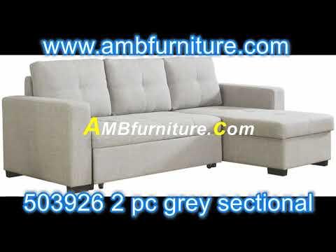 503926 2 pc Everly light grey linen like fabric sleeper sectional sofa