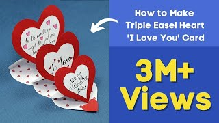 DIY Valentine Card - How to Make Triple Easel Heart
