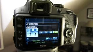 How to change the auto focus area mode on Nikon D3300