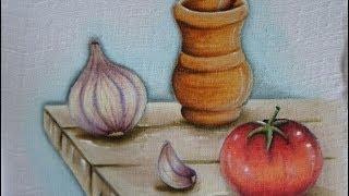 Pilão, Alho e Tomate – Pintura em Tecido
