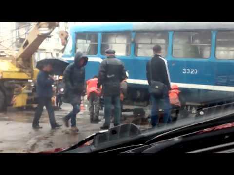 В Одессе трамвай сошел с рельс