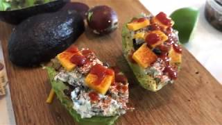 Keto 5 Min Lunch: Tapenade Artichoke Stuffed Avocado/ Avocado Oil snack.