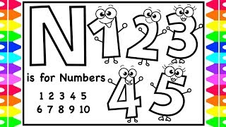 ABC Alphabets Coloring Page | N Is For Numbers | Coloring Pages Numbers 1-5 For Kids | Art Colors