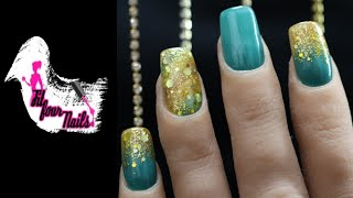 Teal And Gold Nails Design - Acrylic Nails Tutorial