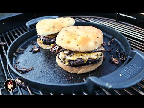 Weber Griddle Burgers   Burgers On The Weber Gourmet BBQ System Griddle