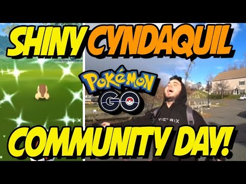 MY SHINY CYNDAQUIL COMMUNITY DAY REACTIONS! Pokemon GO Cyndaquil Community Day!
