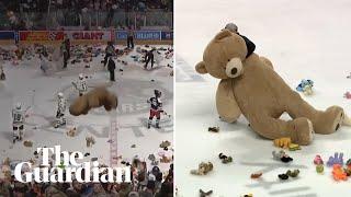 'It's raining stuffed animals': 45,000 teddy bears tossed on ice in hockey game
