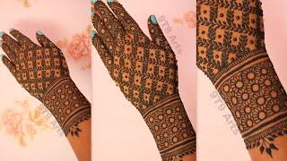 Stylish Full Hand Dulhan Mehndi Designs For Back Hands||Bridal Henna Mehndi Tutorial||Floral Mehndi