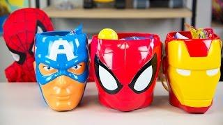 HUGE Spiderman Surprise Toys Bucket Captain America Iron Man Surprise Eggs Boy Toys Kinder Playtime