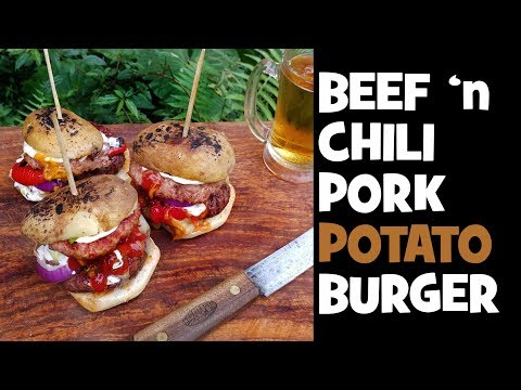 Beef 'n Pork Chili Potato Burger