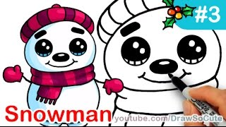 How to Draw Snowman Cute Step by step Easy Christmas Special