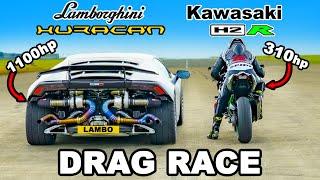 Lamborghini Huracan Turbo vs Kawasaki H2R: DRAG RACE