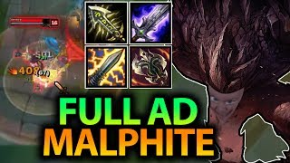 YOU CAN'T STOP THIS ROCK!! FULL AD CRIT MALPHITE MID-AIR ONE SHOTS SEASON 7- League of Legends