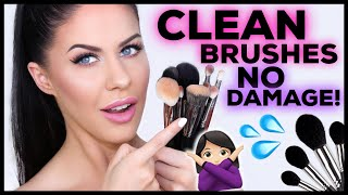 HOW TO CLEAN MAKEUP BRUSHES PROPERLY!! ZERO DAMAGE + KEEP THEM SOFT!!